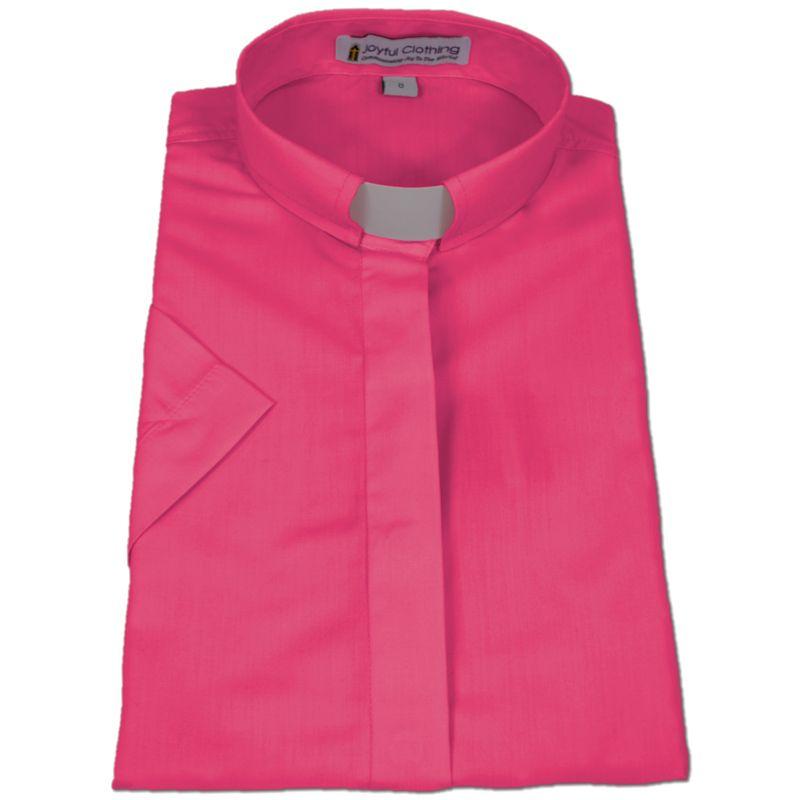 565. Women's Short-Sleeve Tab-Collar Clergy Shirt - Fuchsia
