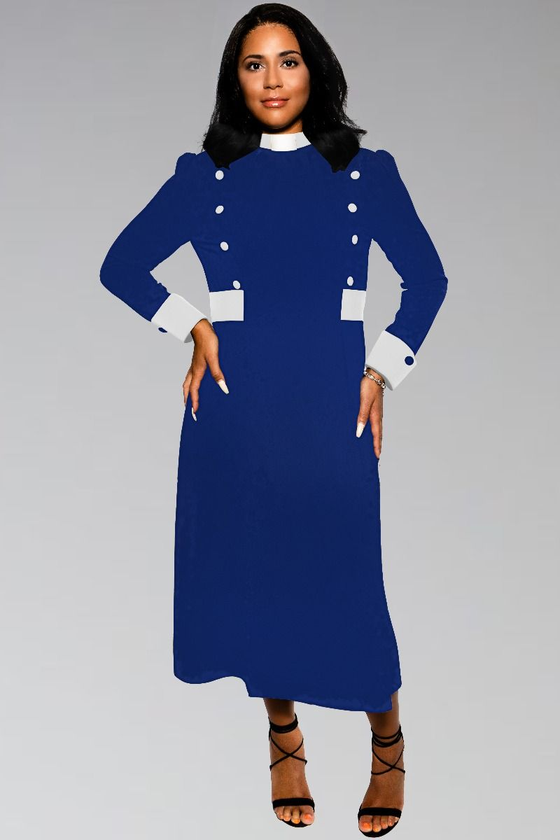 Modern Priest Clergy Dress for Women in Royal and White