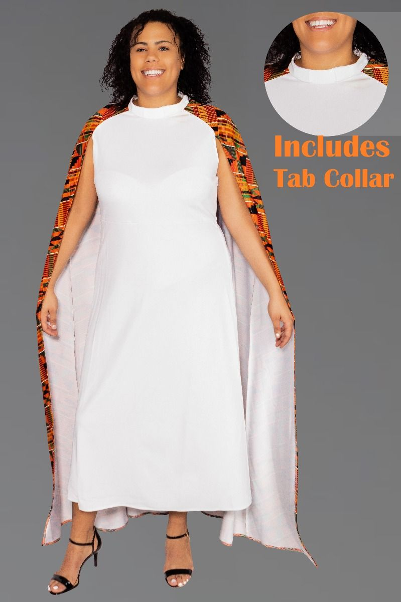 Women's White Clergy Dress with African Kente Cape