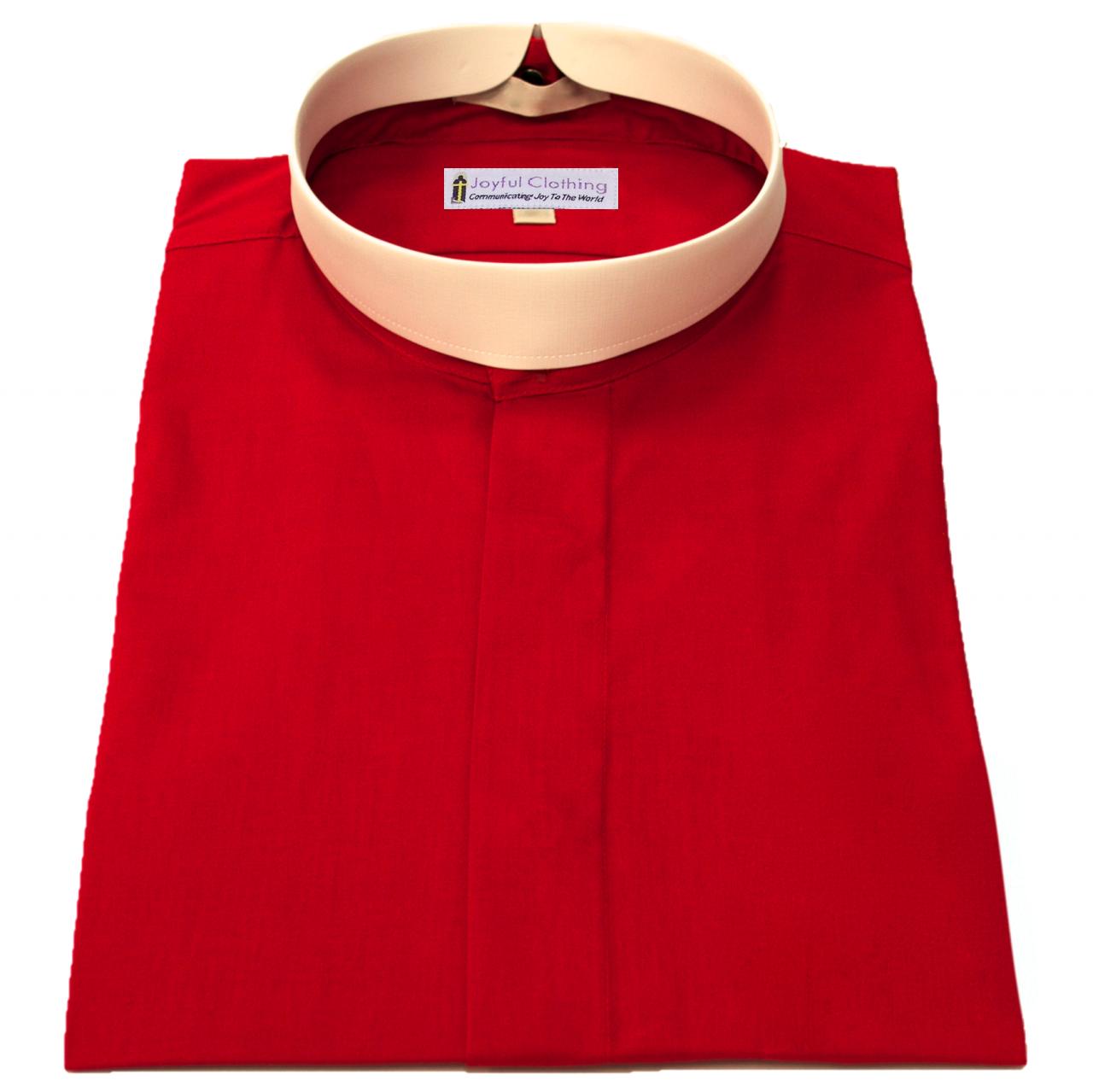 257. Men's Short-Sleeve (Banded) Full-Collar Clergy Shirt - Red