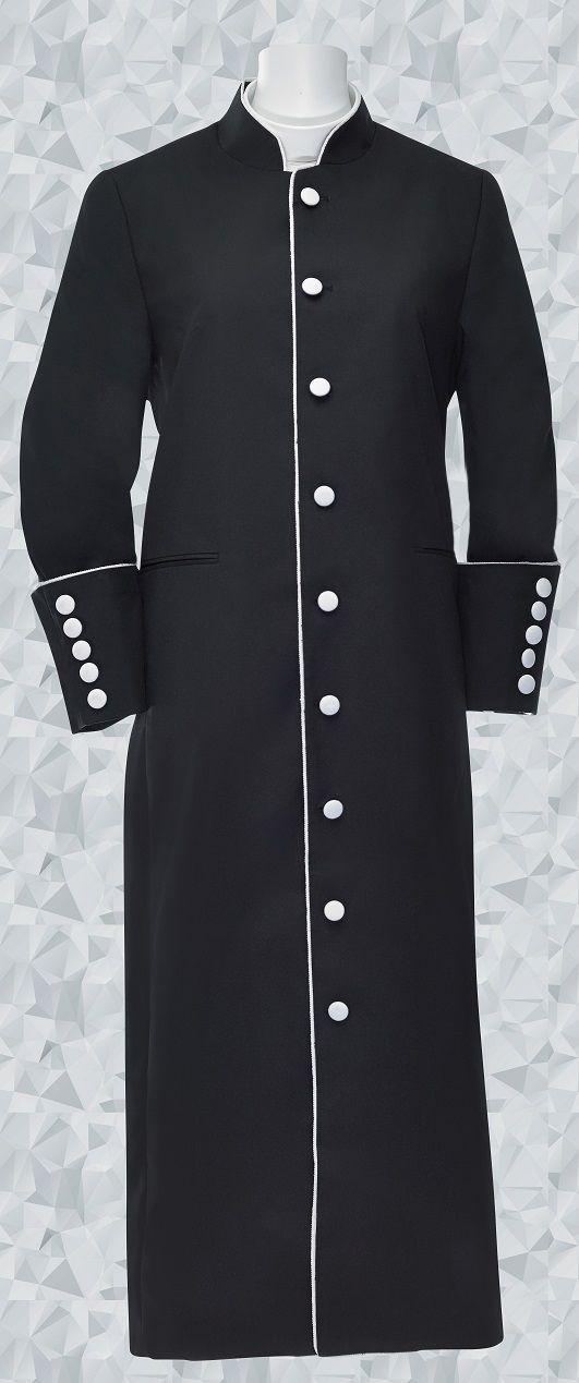 151 W. Women's Clergy Robe Black/White Trim