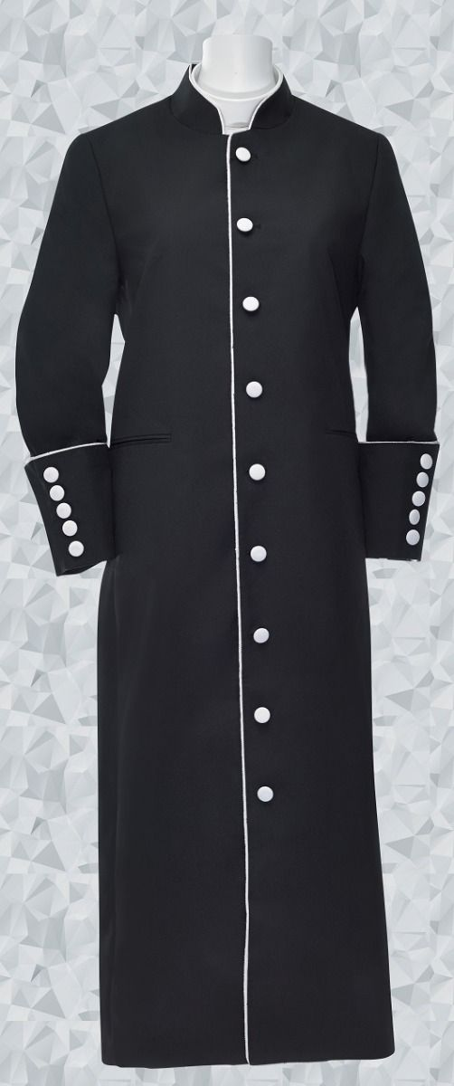 Women's Clergy Robe - Black/White Trim