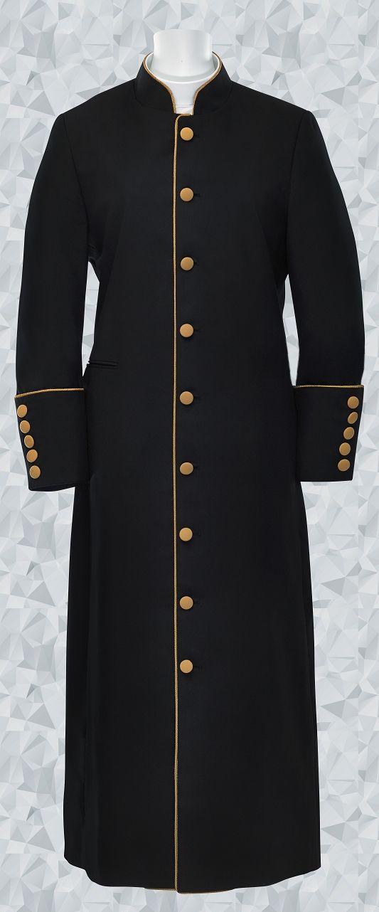 160 W. Women's Clergy Robe - Black/Gold Trim
