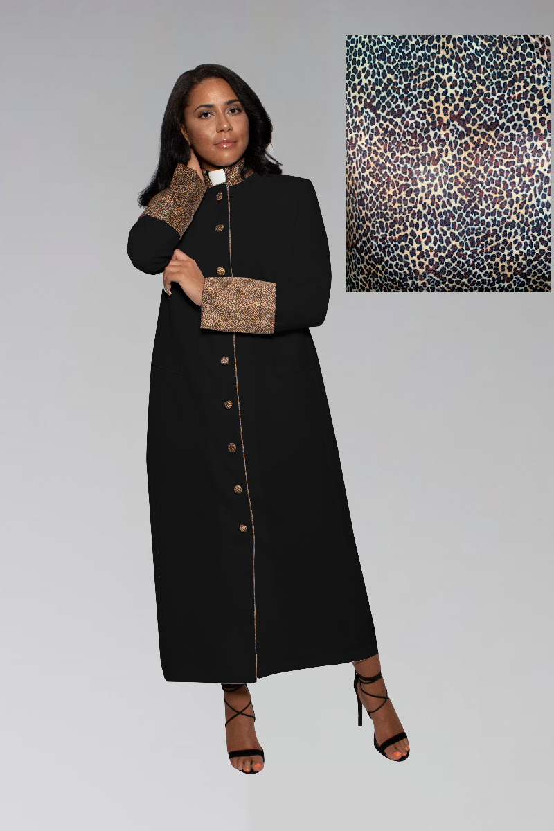Suit Avenue Exclusive Women's Clergy Robe - Black with Exotic Print