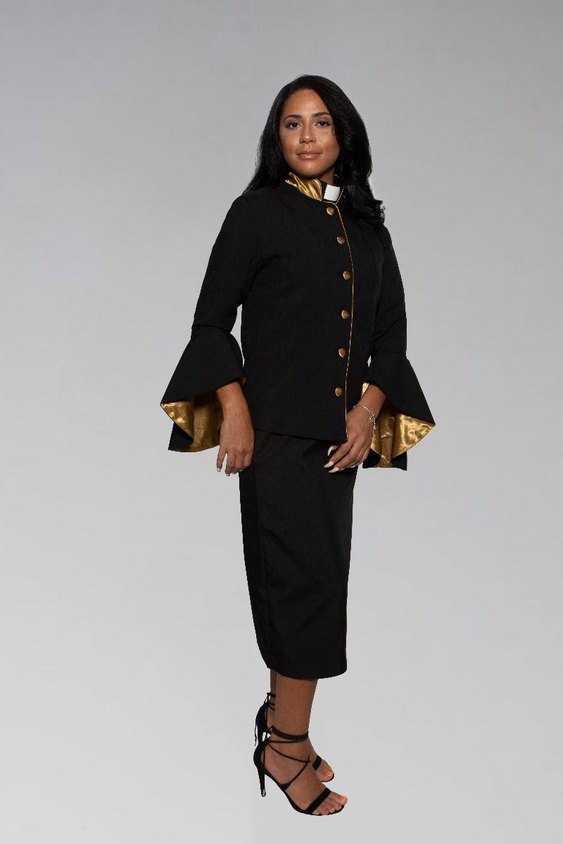 Women's Clergy Suit in Black and Gold with Flared Sleeves