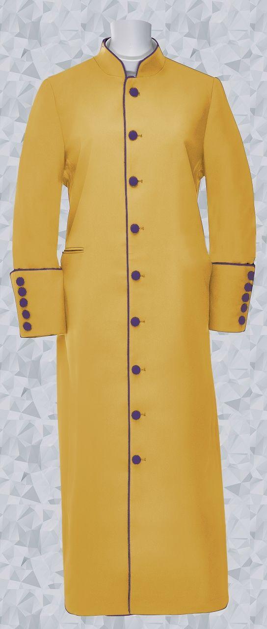 158 W. Women's Clergy/Pastor Robe Gold/Purple Trim