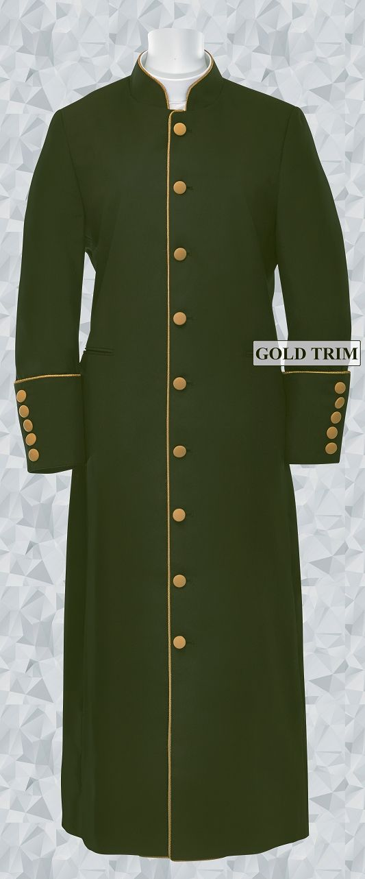 156 W. Women's Clergy/Pastor Robe Olive Green/Gold Trim