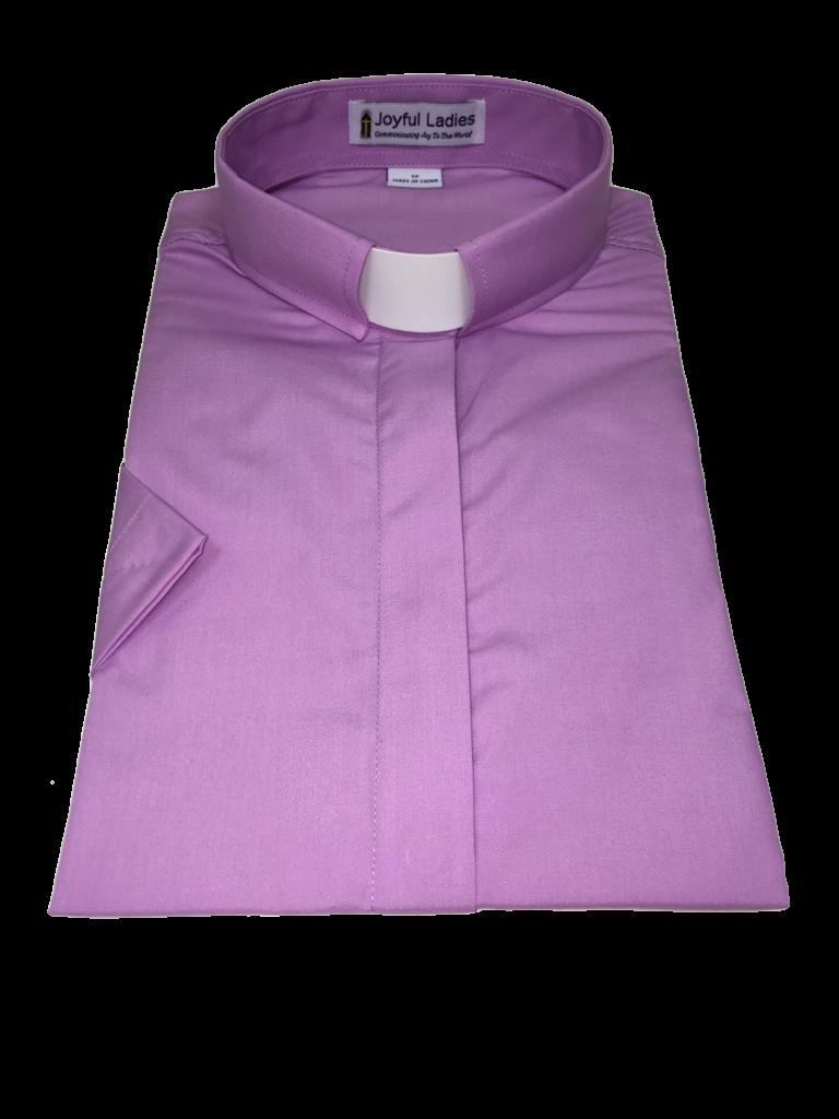 567. Women's Short-Sleeve Tab-Collar Clergy Shirt - Lavender