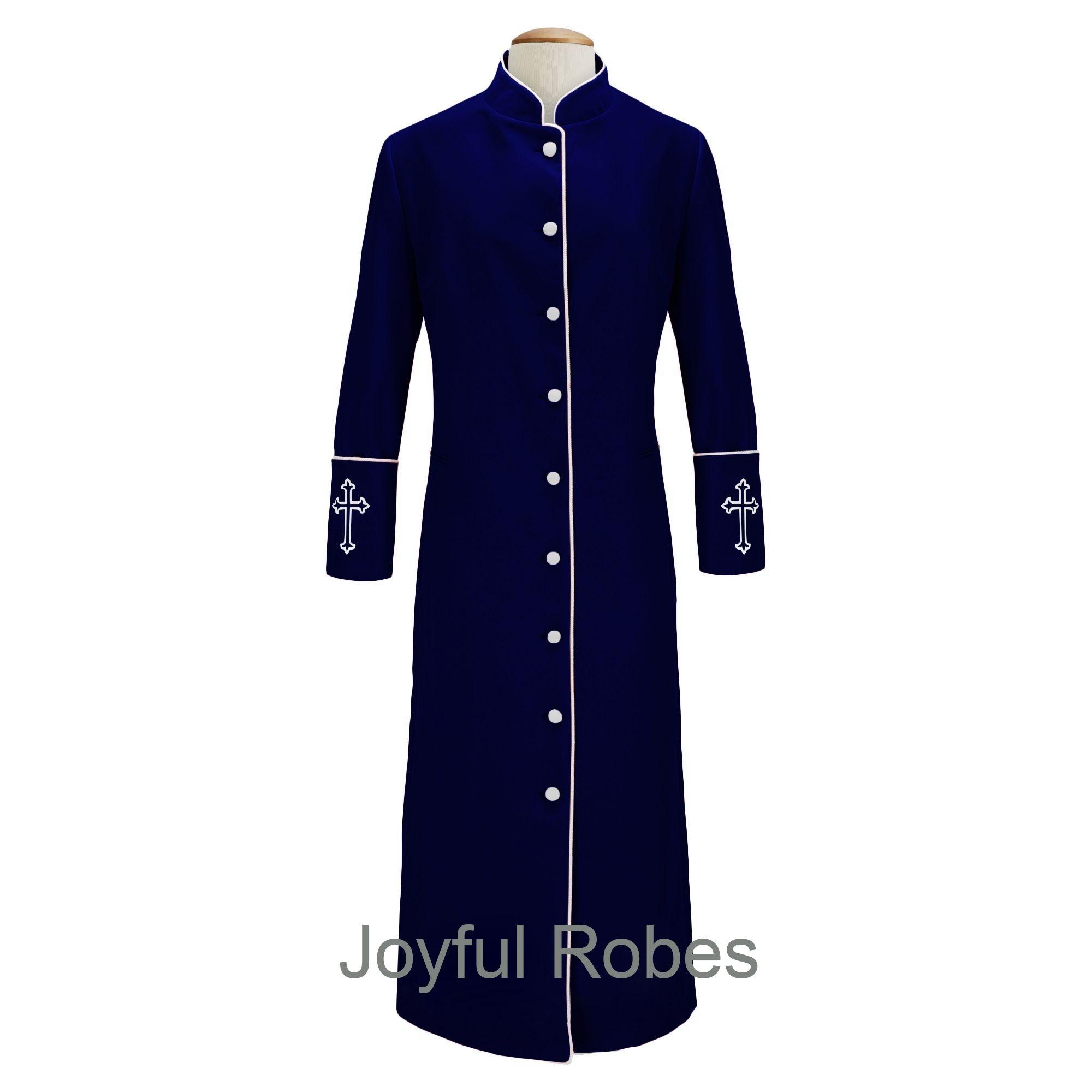 206 W. Women's Clergy/Pastor Robe Navy/White Design