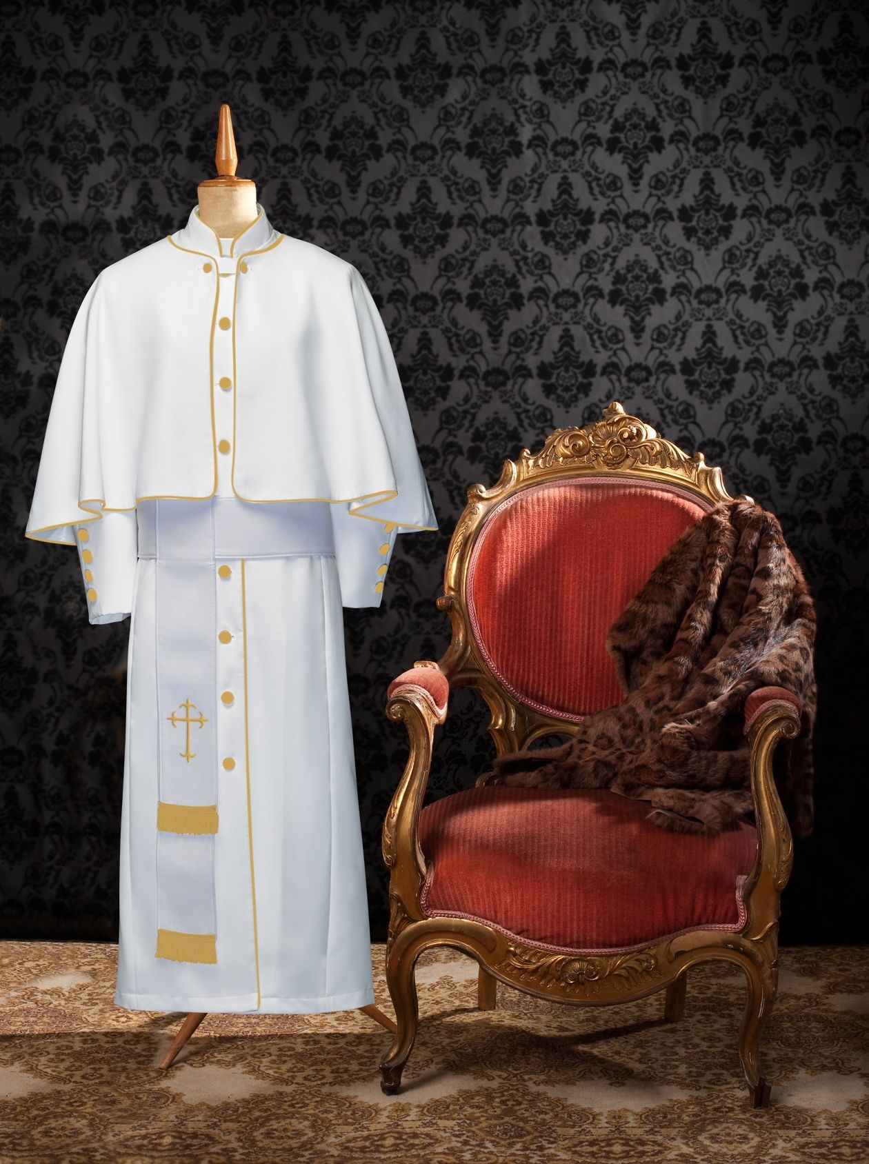 173 W. Limited Exclusive Women's Pastor/Clergy Robe White/Gold Luxury Ensemble