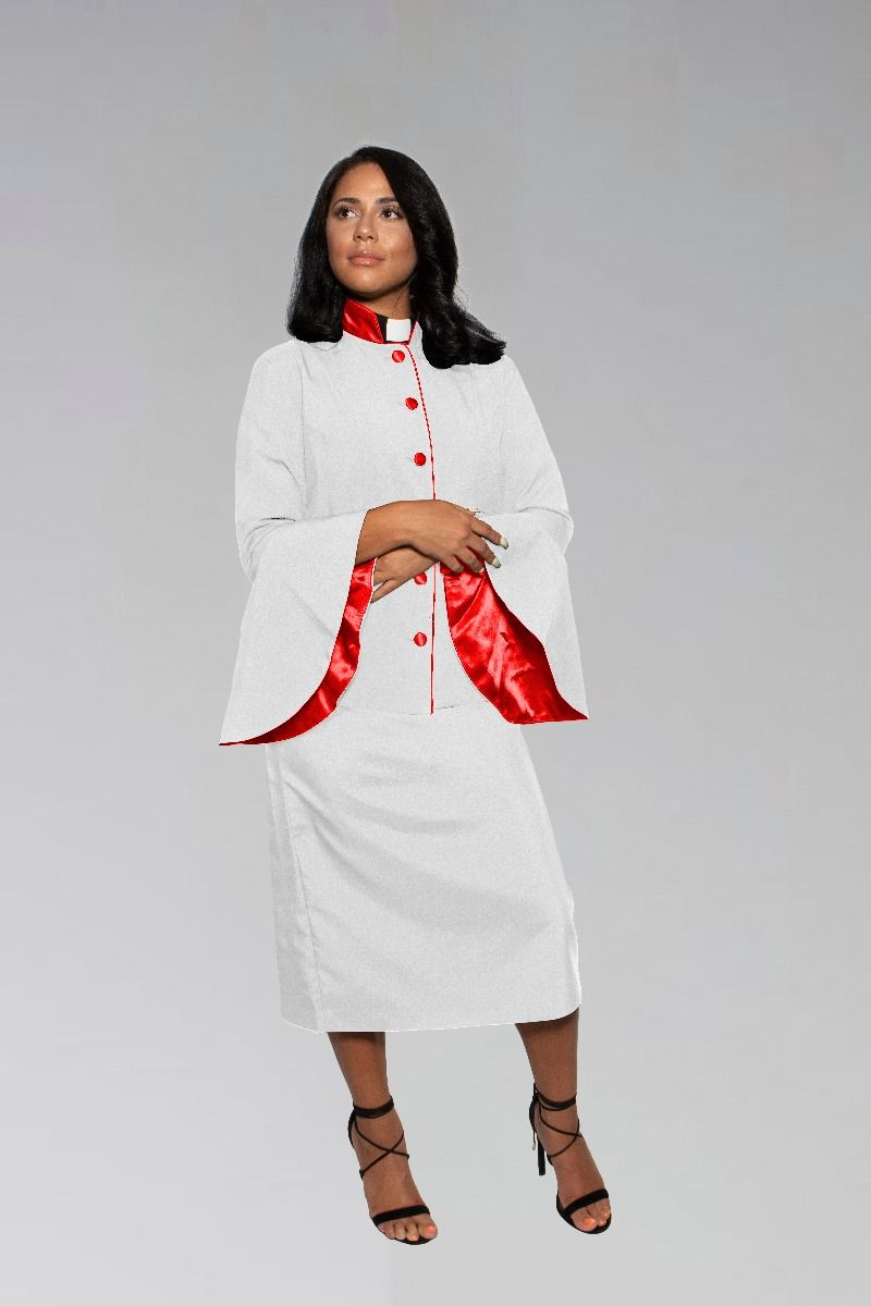 Ladies White and Red Clergy Suit