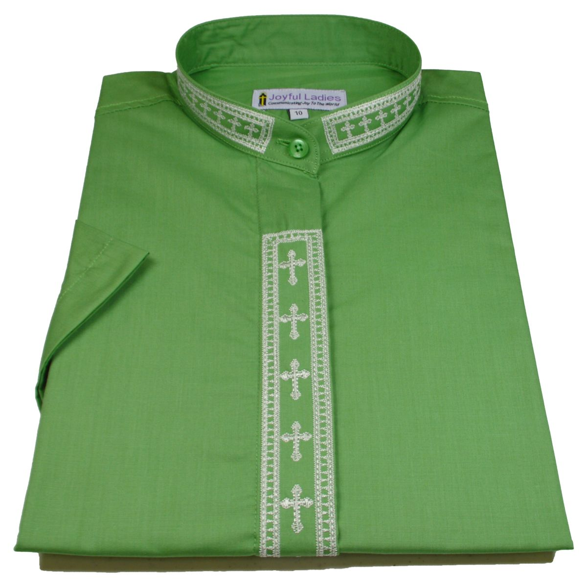 765. Women's Short-Sleeve Clergy Shirt With Fine Embroidery - Green/Creme