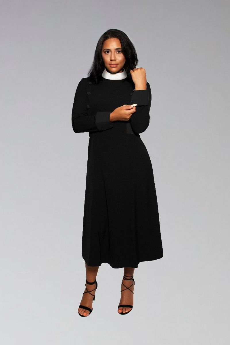Womens Bishop Full Collar Clergy Dress in Black