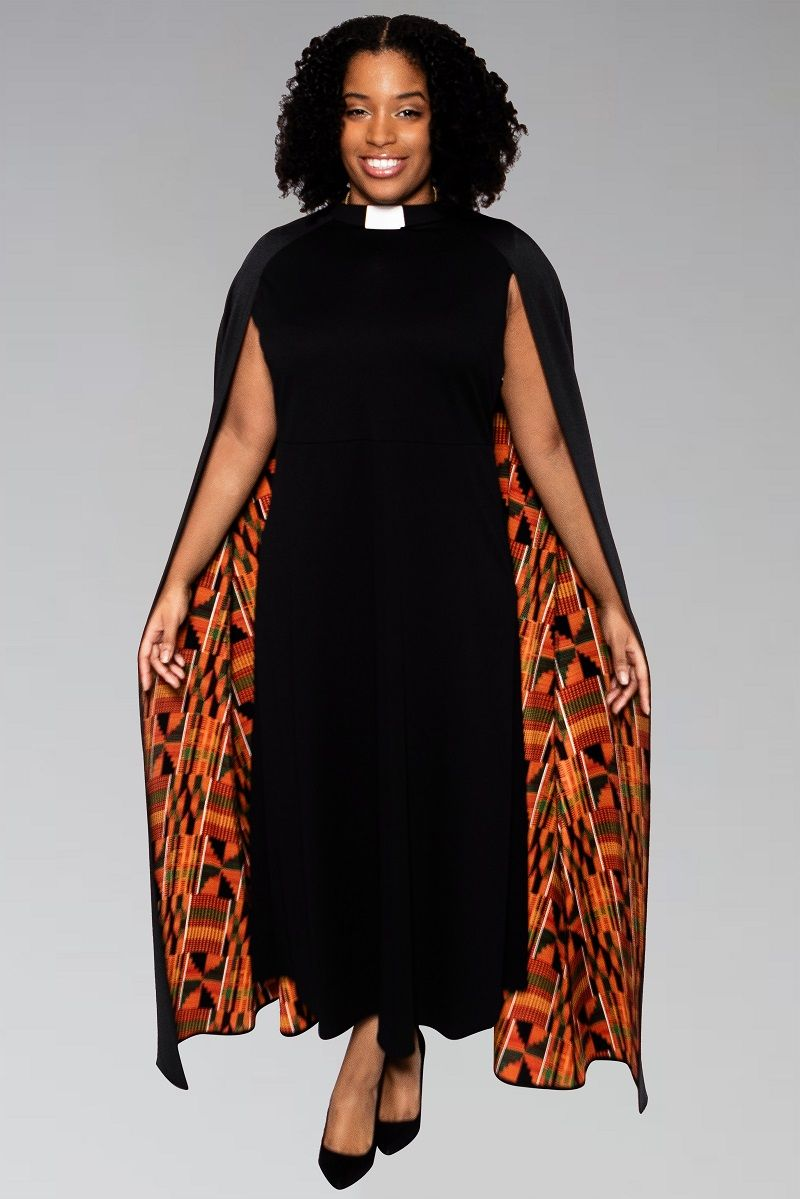 Women's Modern Clergy Dress Black with Kente Cape