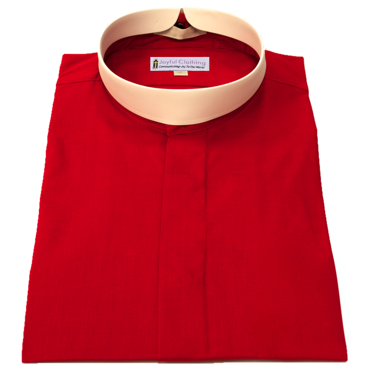 257. Men's Short-Sleeve (Banded) Full-Collar Clergy Shirt - Red