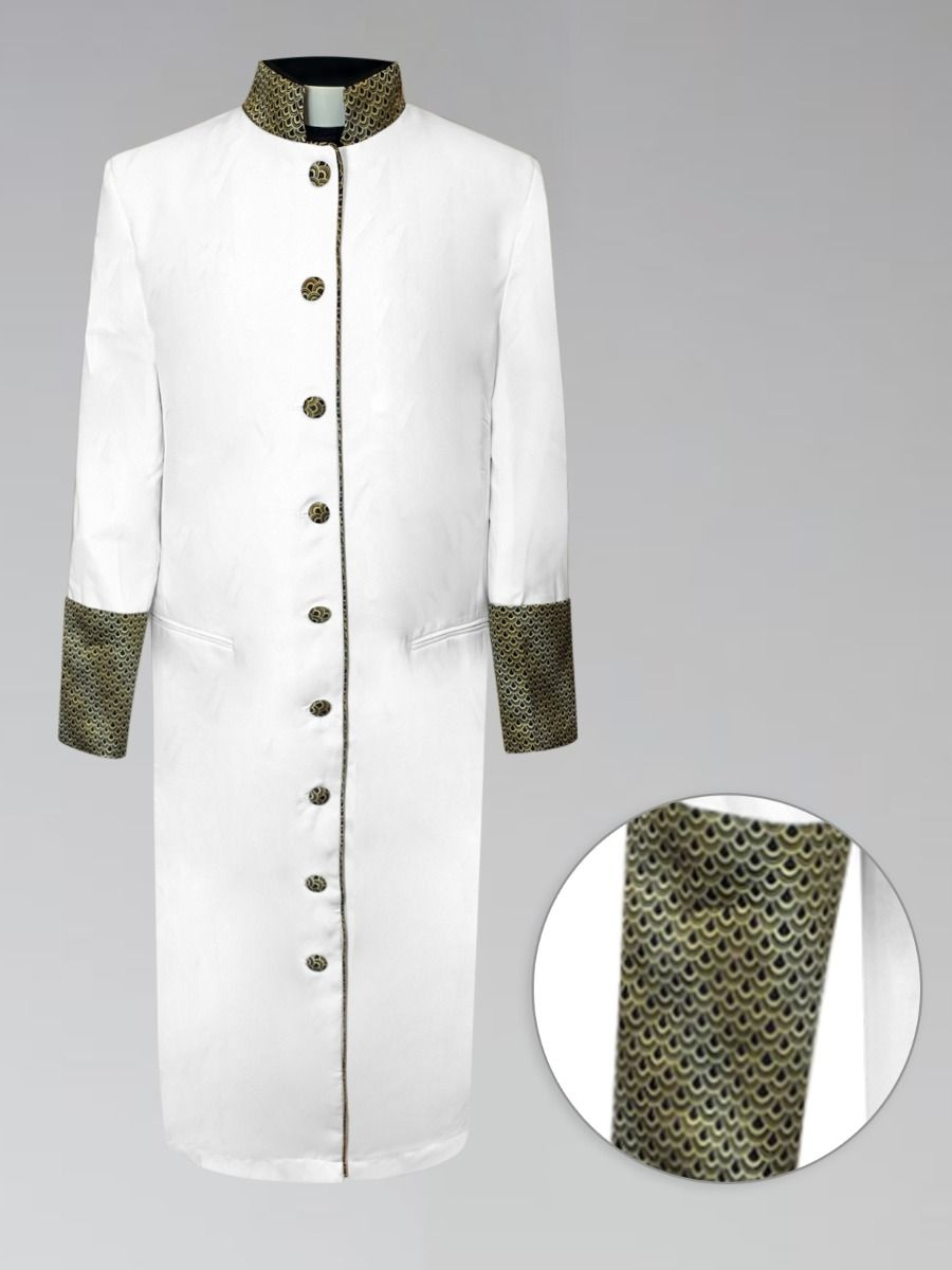 Female Pastors Clergy Robe in White with Custom Gold Brocade