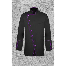 Men's Double Breasted Clergy Jacket in Black and Purple