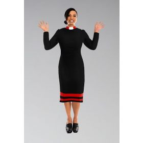 Ladies Clergy Dress Black with Red Contrast