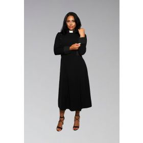 Women's Clergy Dress Black with Black Designer Buttons