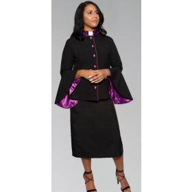 782 W. Women's Clergy Suit - Black/Purple Flared Sleeve