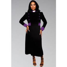 Pastors Dress for Ministry in Black and Purple