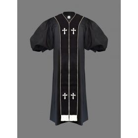Clergy Pulpit Robe Black with Free Black/White Stole