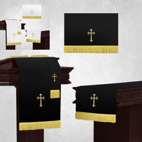 Reversible White and Black Church Parament Set