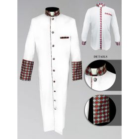 *Featured* Men's Custom Fabric Clergy Robe - White with Argyle Fabric