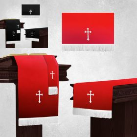 Communion Pulpit Parament Set in Black and Red with White crosses for Catholic Church and Ceremony.