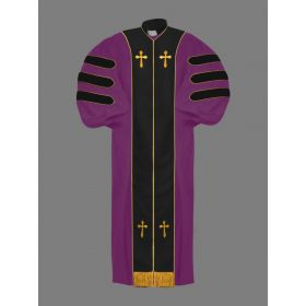 Dr. of Divinity Bishop Robe in Purple with Black and Gold Doctor Bars
