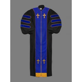 Dr. of Divinity Robe Black and Royal/Gold Doctor Bars with Free Stole