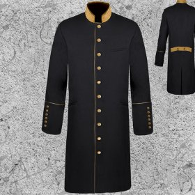 Men's Black and Gold Clergy Frock Coat Long