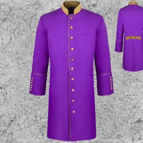 Men's Long Frock Jacket Clergy Purple