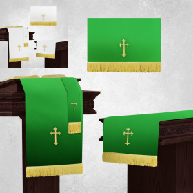 White and Green Church Parament Sets with Table Runner