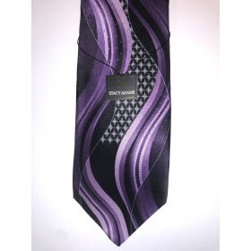 **Stacy Adams Premium Handmade Silk Neck Tie - Purple & Black Designo