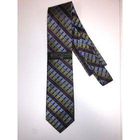 **Stacy Adams Premium Handmade Silk Neck Tie AND HANKY - Olive & Purple Squares