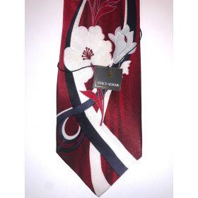 **Stacy Adams Premium Handmade Silk Neck Tie - Red Floral Designo