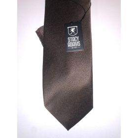 **Stacy Adams Premium Handmade Silk Slim Neck Tie AND HANKY - Solid Brown