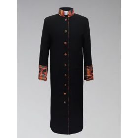 Women's Clergy Robe - Black with African Kente Cloth
