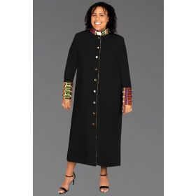 Ladies Kente African Clergy Robe Black