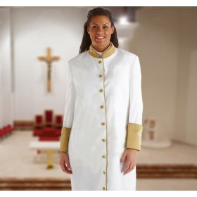Womens White & Gold Cassock Clergy Robe