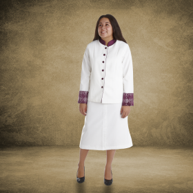 Women's White and Purple Clergy Suit