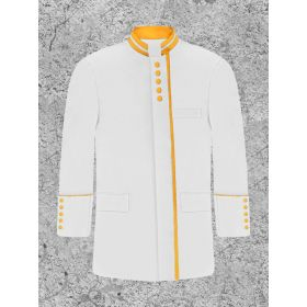Modern White and Gold Clergy Jacket for Men