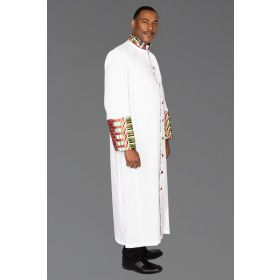 Men's White Clergy Kente Robe Kwangali Fabric