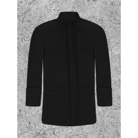 Solid Black Clergy Jacket For Modern Priest