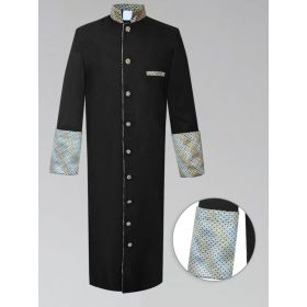 Black and Gold Custom Brocade Mens Clergy Robe