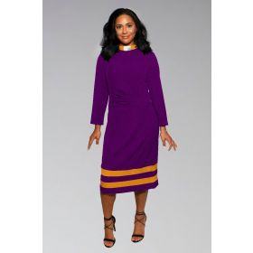 Ladies Clergy Dress Purple with Gold Contrast