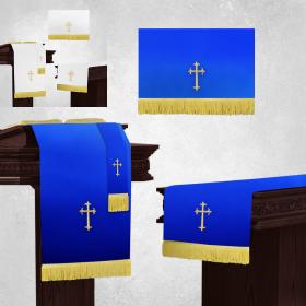 Reversible White and Royal Blue Church Parament Set