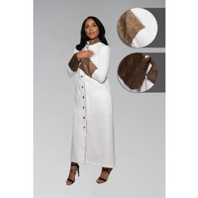 Women's Clergy Robe - White with Exotic Print