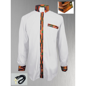 White Clergy Shirt with Kente Cloth Fabric